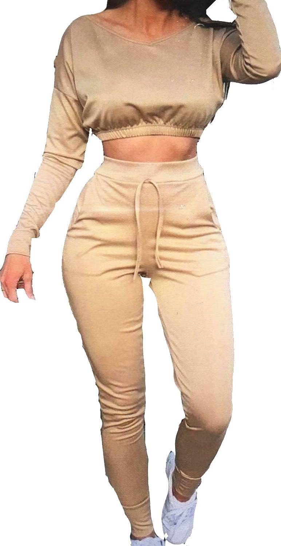 MyMixTrendz Nuevas Mujeres Crop Top Bottoms 2 Piezas Co-ORD Set Jogging Loungewear Casual Bottoms Chándal 2PCS Set 8-22