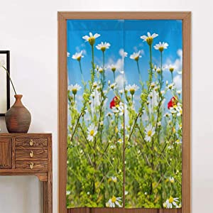 Ladninag Noren Doorway Curtain Blue Sky Clouds and Daisies Flower Floral Japanese Noren Doorway Curtain Long Tapestry Door Curtains Decor Dividers for Home Kitchen Bedroom Bathroom Living Room Office