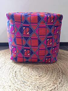 "Jaipur Home Pouf Cover, Unstuffed Ottoman Handmade Woven Foot Stool Soft Knitted Cotton Linen Footrest Square Floor Cushion Unfilled Pouf for Living Room Home Chair, Pink,16""x18""x16"""