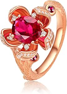 Gnzoe Jewlery Gift - 18K Rose Gold Engagement Rings for Women Plum Blossom Ring with Tourmaline 1.38ct