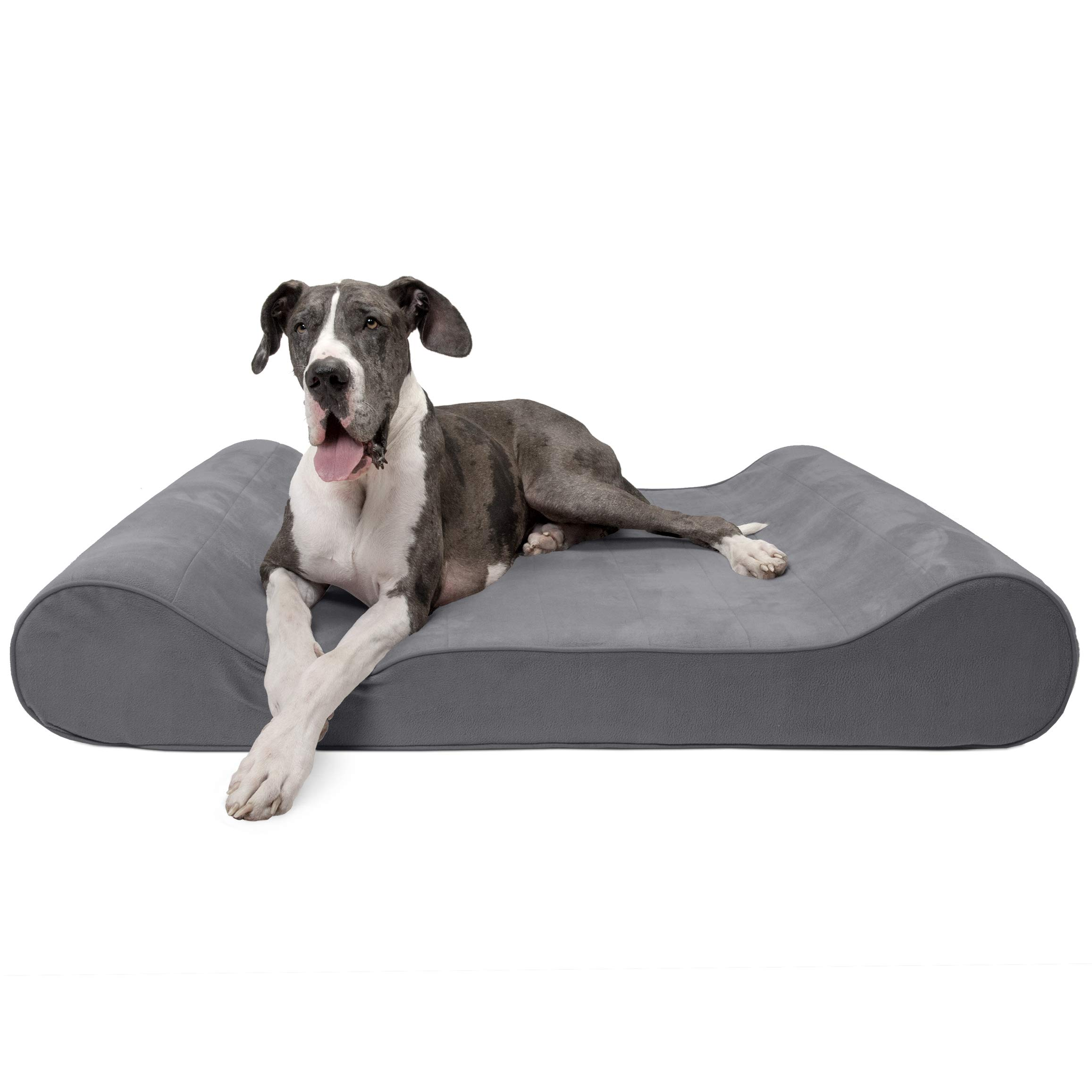 FurHaven Pet Dog Bed | Orthopedic Microvelvet Luxe Lounger Pet Bed for Dogs & Cats, Gray, Giant