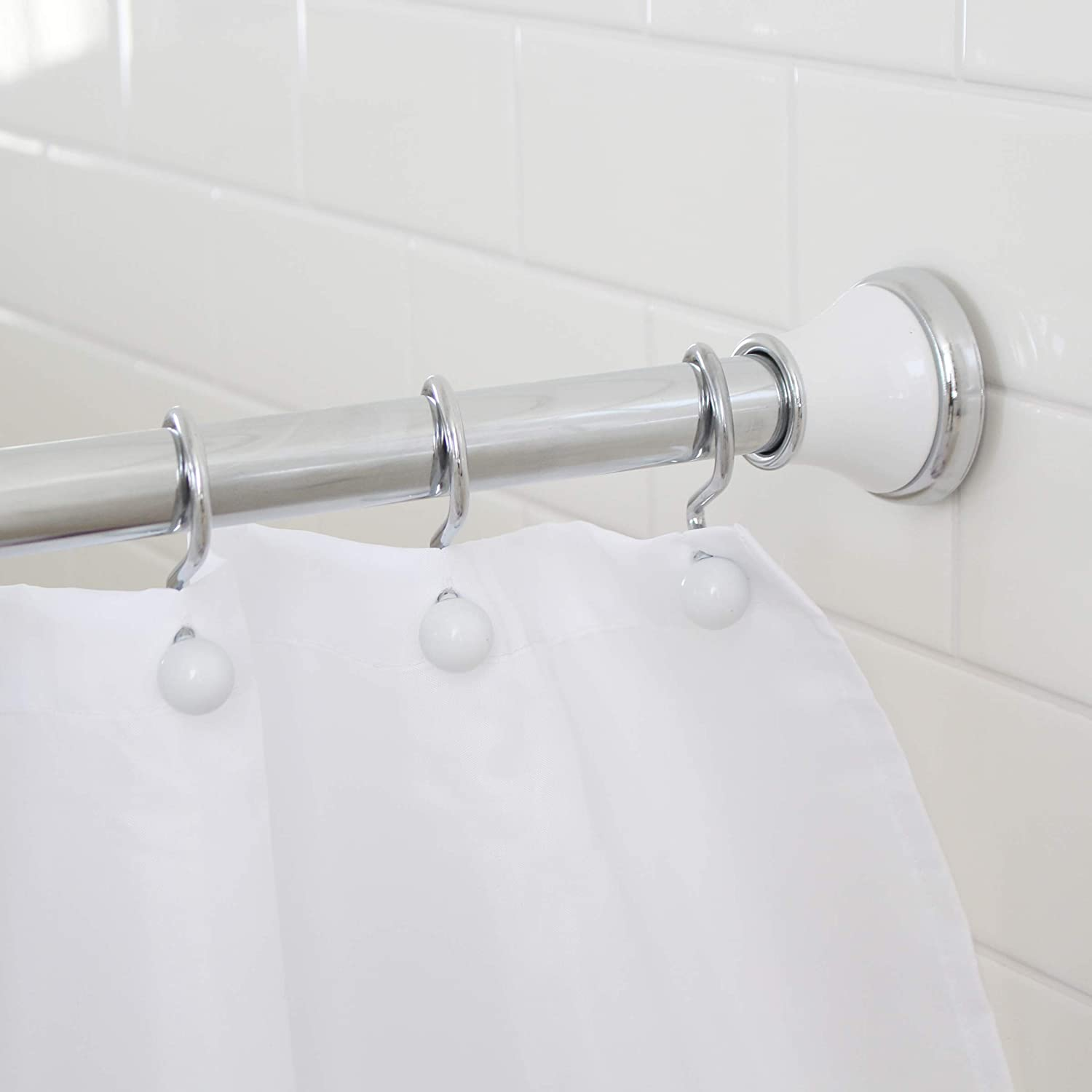 splash home regal rust resistant strong hold constant tension bathroom decorative shower curtain rod extendable 42 72 inches chrome