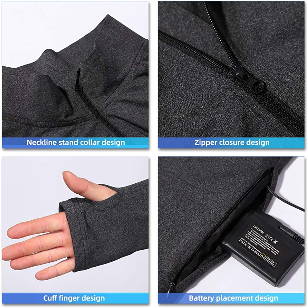 LONHEO Heated Shirt Zip Thermal Underwear,3000mAh Rechargeable Battery Heated Sweater Pullover Base Layer