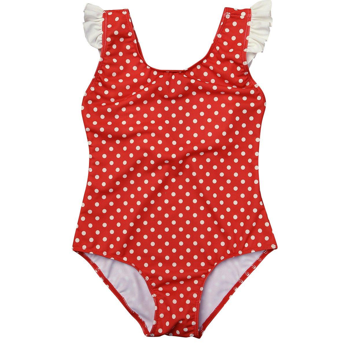 MSemis Little Baby Girls Retro Polka Dot Ruffles V Back One-Piece Swimsuit Swimwear Summer Beachwear