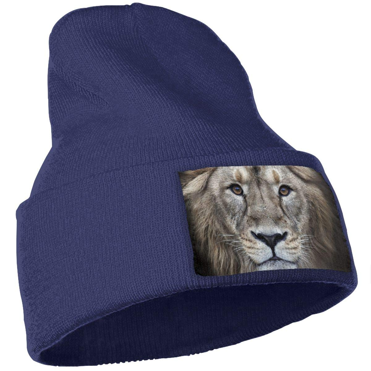 Lion Head King Hat for Men and Women Winter Warm Hats Knit Slouchy Thick Skull Cap Black