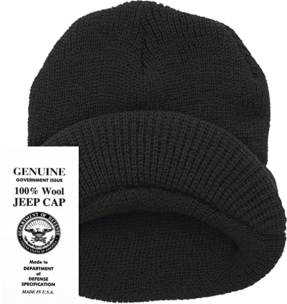 151c14a7cbe Amazon.com  Genuine GI Official Military Wool Cold Weather Winter Knit Hat  Jeep Watch Cap (Black)  Clothing