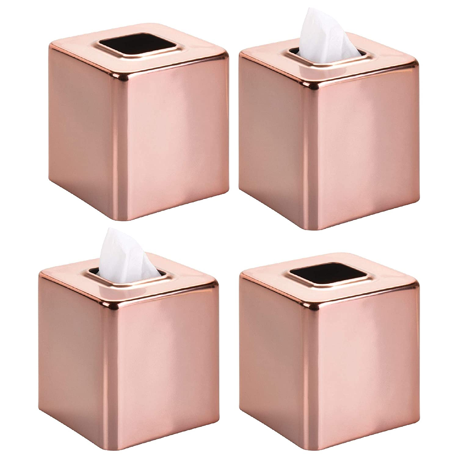 Night Stands Chrome MetroDecor Bedroom Dressers Desks and Tables 4 Pack mDesign Modern Square Metal Paper Facial Tissue Box Cover Holder for Bathroom Vanity Countertops