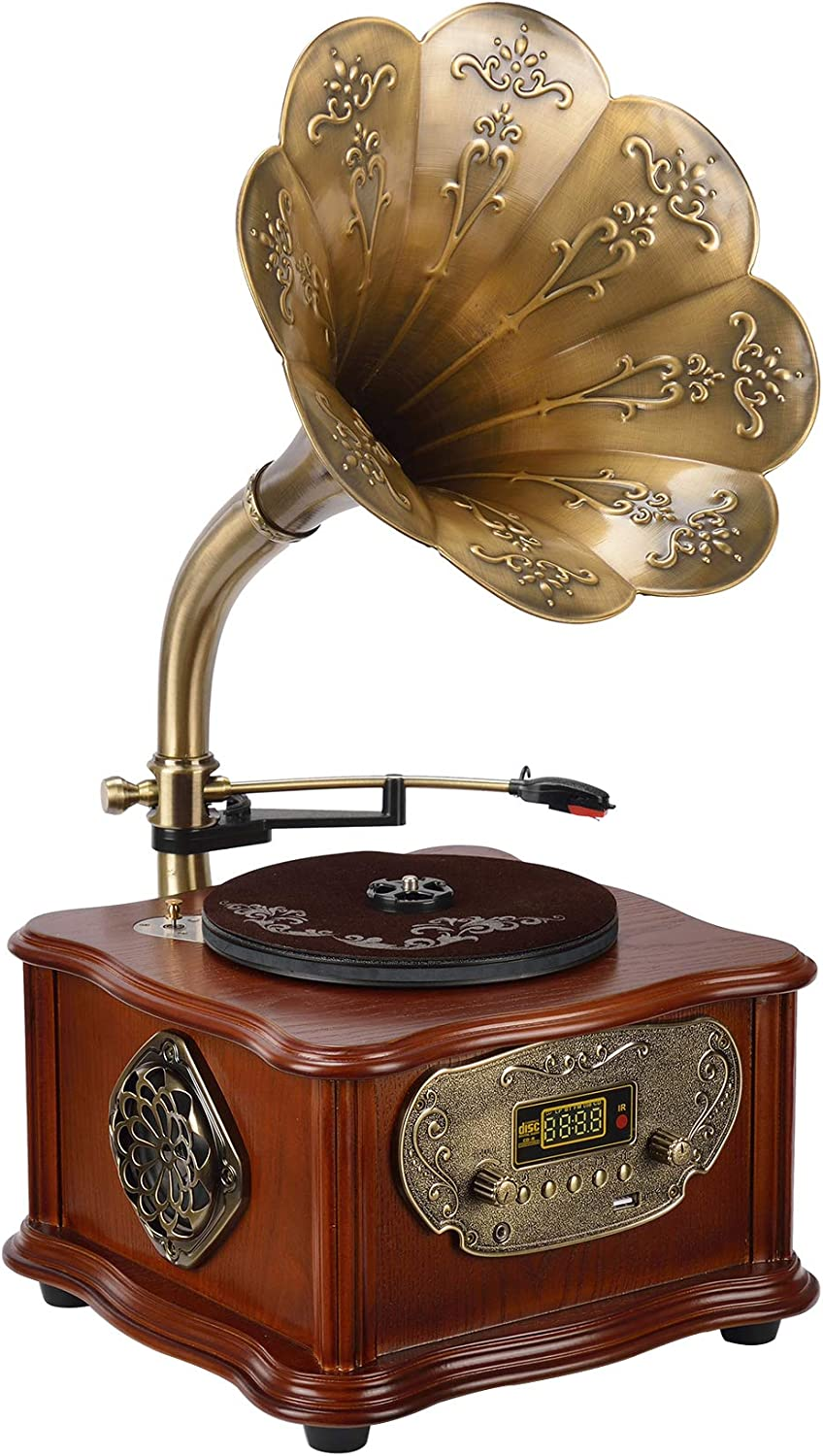 Wooden Gramophone Phonograph Turntable Vinyl Record Player Stereo Speakers System Control 33/45 RPM FM AUX USB Ouput Bluetooth 4.2