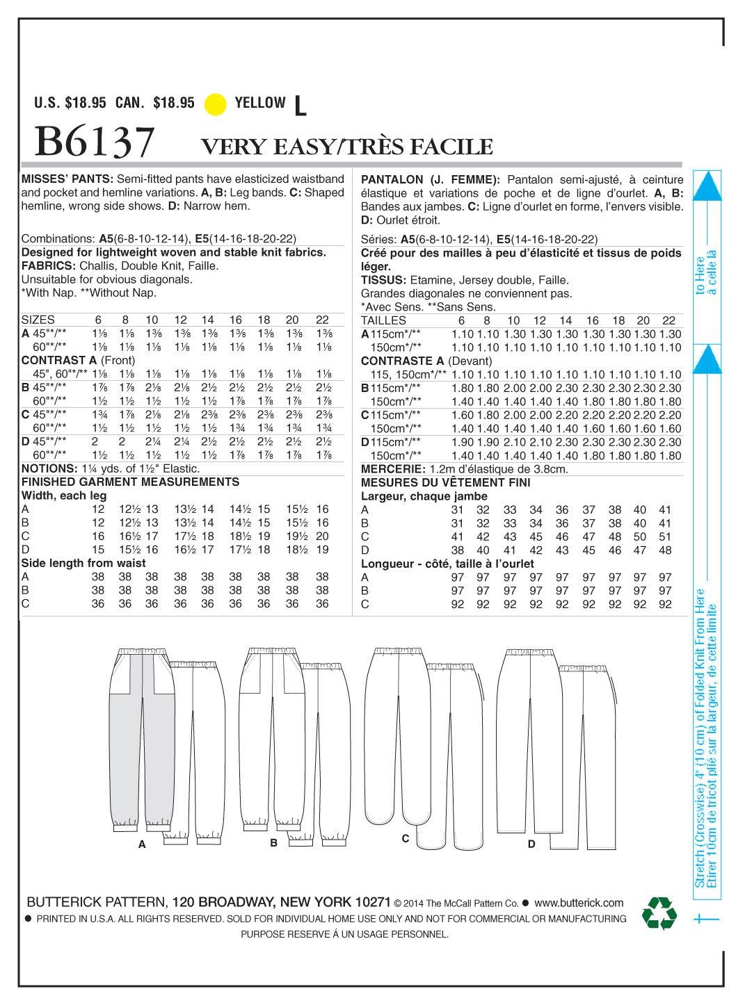 Butterick B6137 costura para confeccionar blusas, trajes, vestidos, moda, BTK 6137 A5 (6-14) Deu. Gr. 32-40: Amazon.es: Hogar