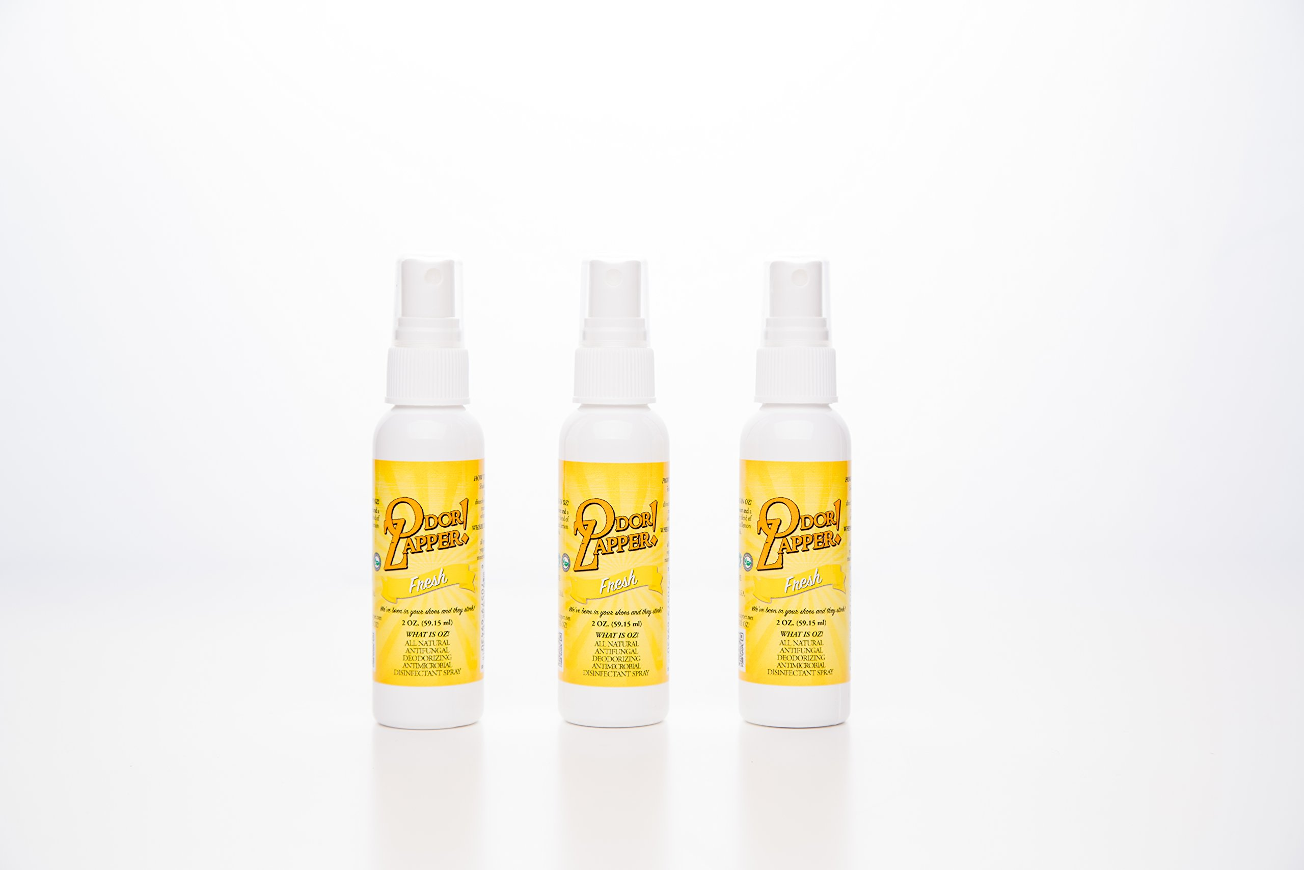 Odor Zapper Disinfectant Spray - Use in Shoes, Gym Bags, Yoga Mats, and More! - ''Fresh'' - 3 Pack - 2 Oz Bottles