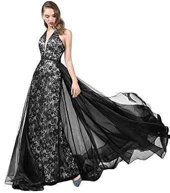 48ecd5610cc OYILAN Women s Halter Lace Prom Dress Long V-Neck Evening Gown with  Detachable Organza Train