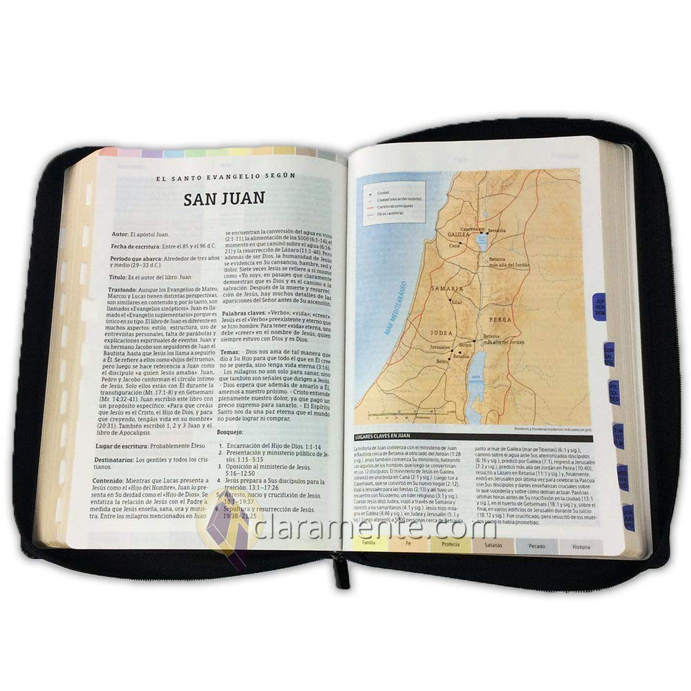 Biblia de Estudio Arco Iris con Cierre y Bolsillo, Reina ...
