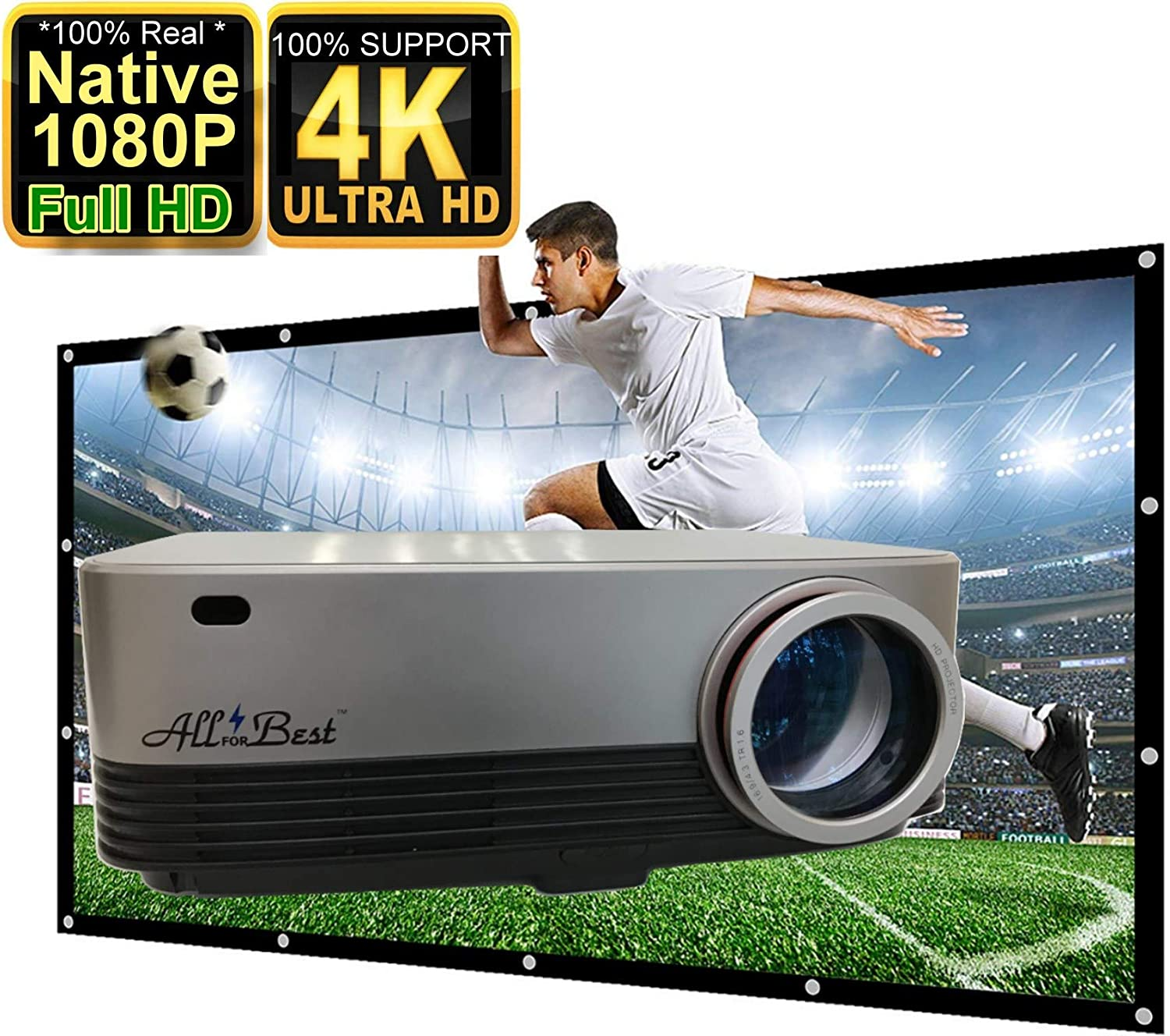"AllForBest Full HD LED, Native 1080P Projector, Support 4K,5500 Lux,Support 300"" Display, HDMI VGA USB, Compatible with TV Box Xbox Playstation Laptop iPhone Android,Perfect for Home Theater & PPT"