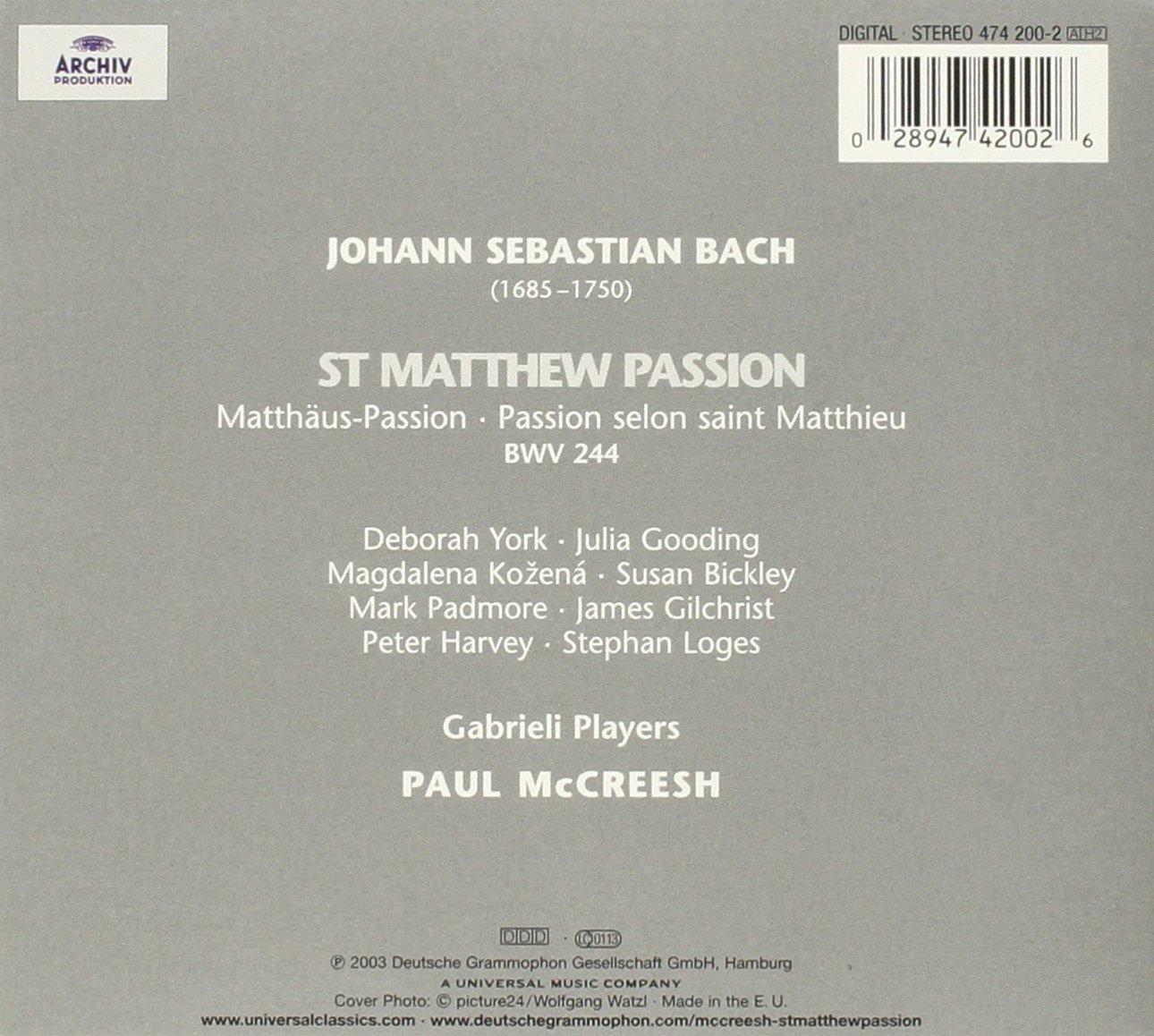 Bach: St Matthew Passion (Matthäus-Passion)