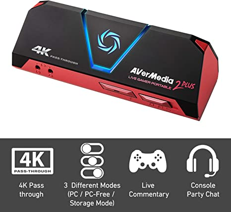 AVerMedia Live Gamer Portable 2 Plus, 4K Pass-Through, Capturadora de juegos 1080p60 USB , Baja latencia, Grabación, Stream, Plug and Play, para Xbox, Playstation, Switch (GC513): Amazon.es: Informática