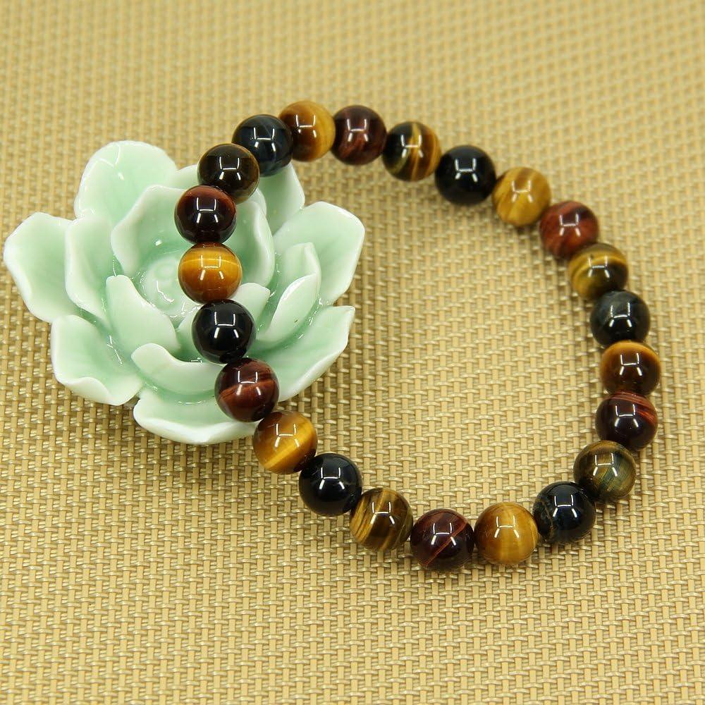 Fabriqu/é /à la main Longueur denviron 18/cm Bracelet /élastique unisexe /à perles en pierres semi-pr/écieuses de 8/mm Amandastone