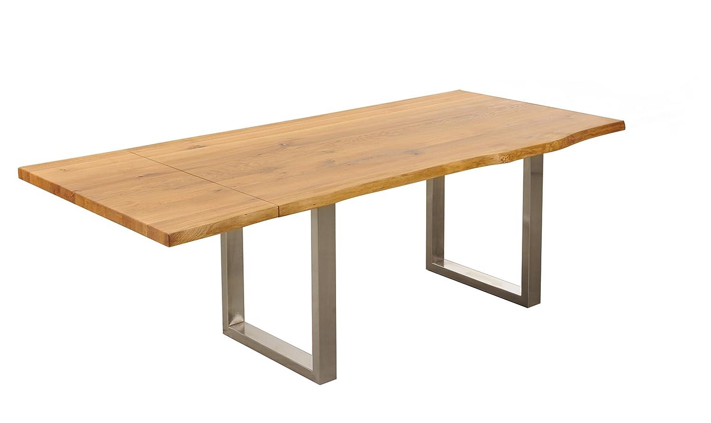 Baumtisch Esstisch mit Baumkante 200(260)x100cm 'Amber II' Wildeiche massiv Holz geölt
