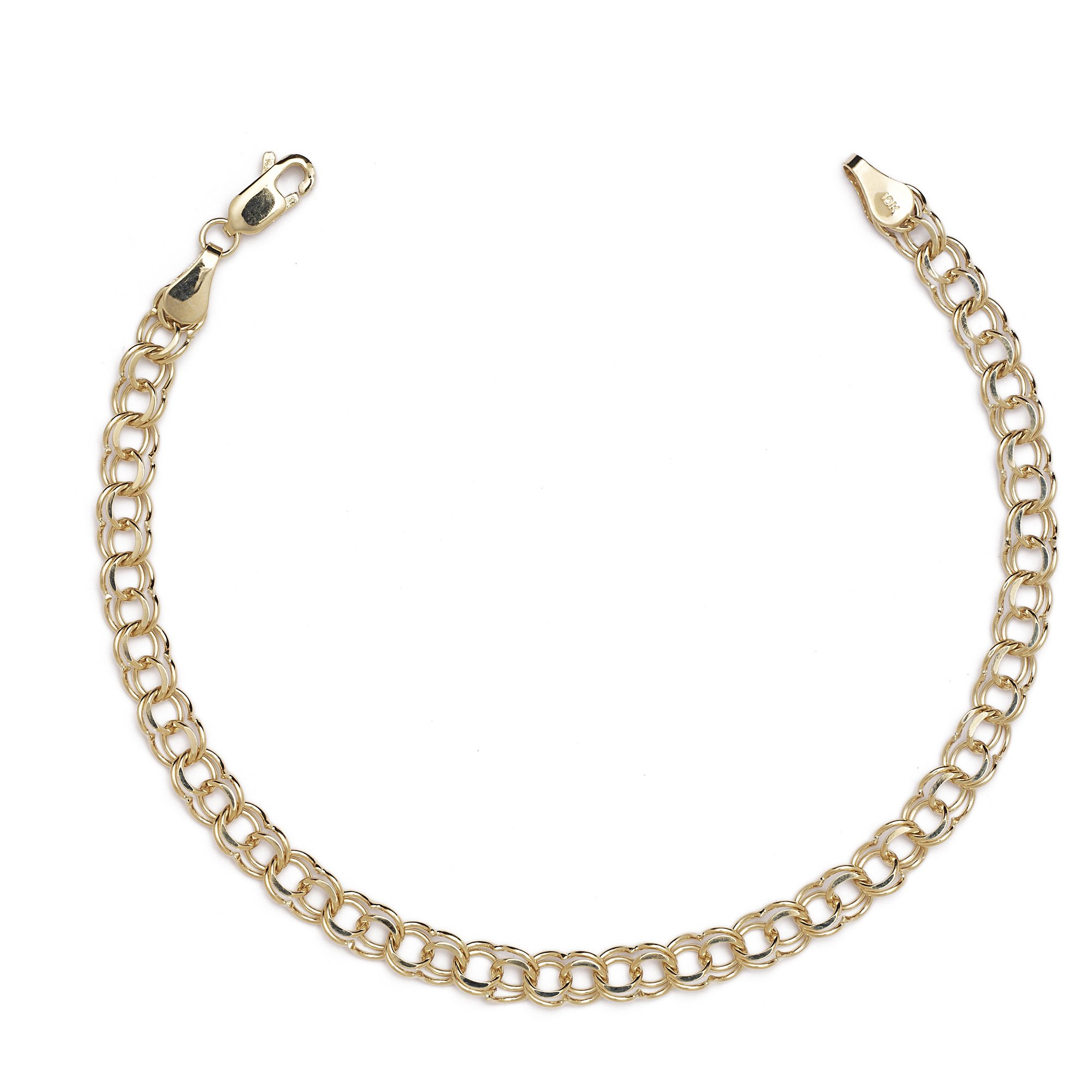 Floreo 8 Inch 10k Yellow Gold High Polished Solid Double Link Charm Bracelet for Women and Girls (0.2'')