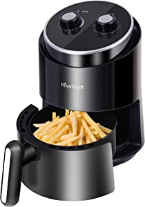 2 Quart Air Fryer Electric Hot Oven Oilless Cooker Personal Compact Healthy Fryer with Adjustable Temperature Control, 60 Minute Timer and Dishwasher Safe Non-stick Fry Basket, Black