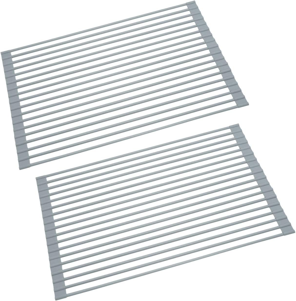 "KES Over The Sink Dish Drying Rack 20.5"" x 13"" Roll Up Dish Rack 2 Packs Sink Drying Rack Multipurpose Collapsible Dish Drying Mat for Kitchen, PDR500-GR-P2"