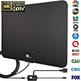 1byone HDTV Antenna, HD Digital Indoor TV Antenna Upgraded 2018 Version, 50-80 Miles Long Range with Amplifier Signal Booster for 1080P 4K Free TV Channels, Amplified 10ft Coax Cable