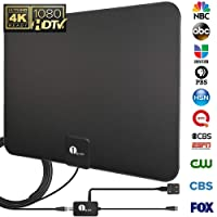 1byone TV Antenna, 50 Mile Range Amplified HDTV Antenna with Detachable Amplifier Signal Booster, USB Power Supply and 10 Feet Highest Performance Coaxial Cable-Black
