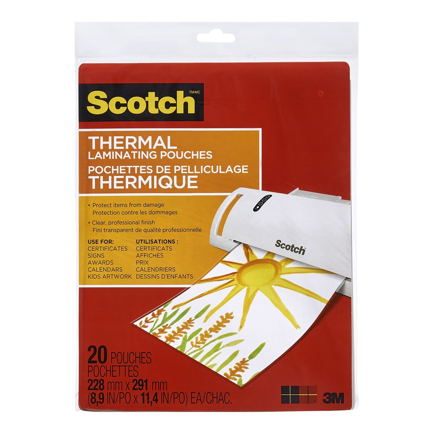 Scotch Thermal Laminating Pouches, 8.97-Inch x 11.45-Inch (Per Pouch), 3-Mil Thickness, 50 Pouches, (TP3854-50-C) 3M Canada Company
