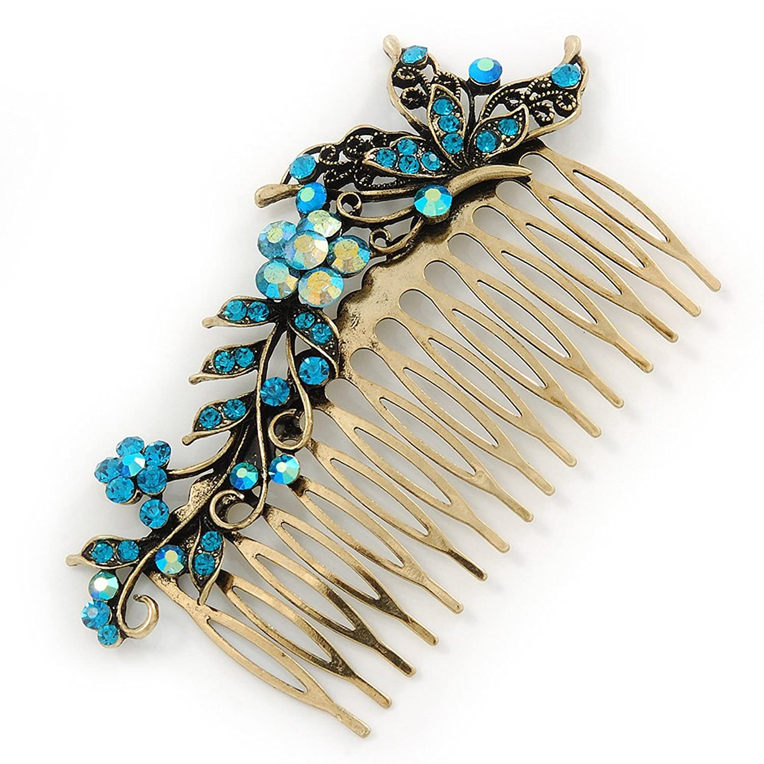 Butterfly hair accessories for weddings uk - Vintage Inspired Teal Blue Swarovski Crystal Flower Butterfly Side Hair Comb In Antique Gold Tone 115mm Amazon Co Uk Jewellery