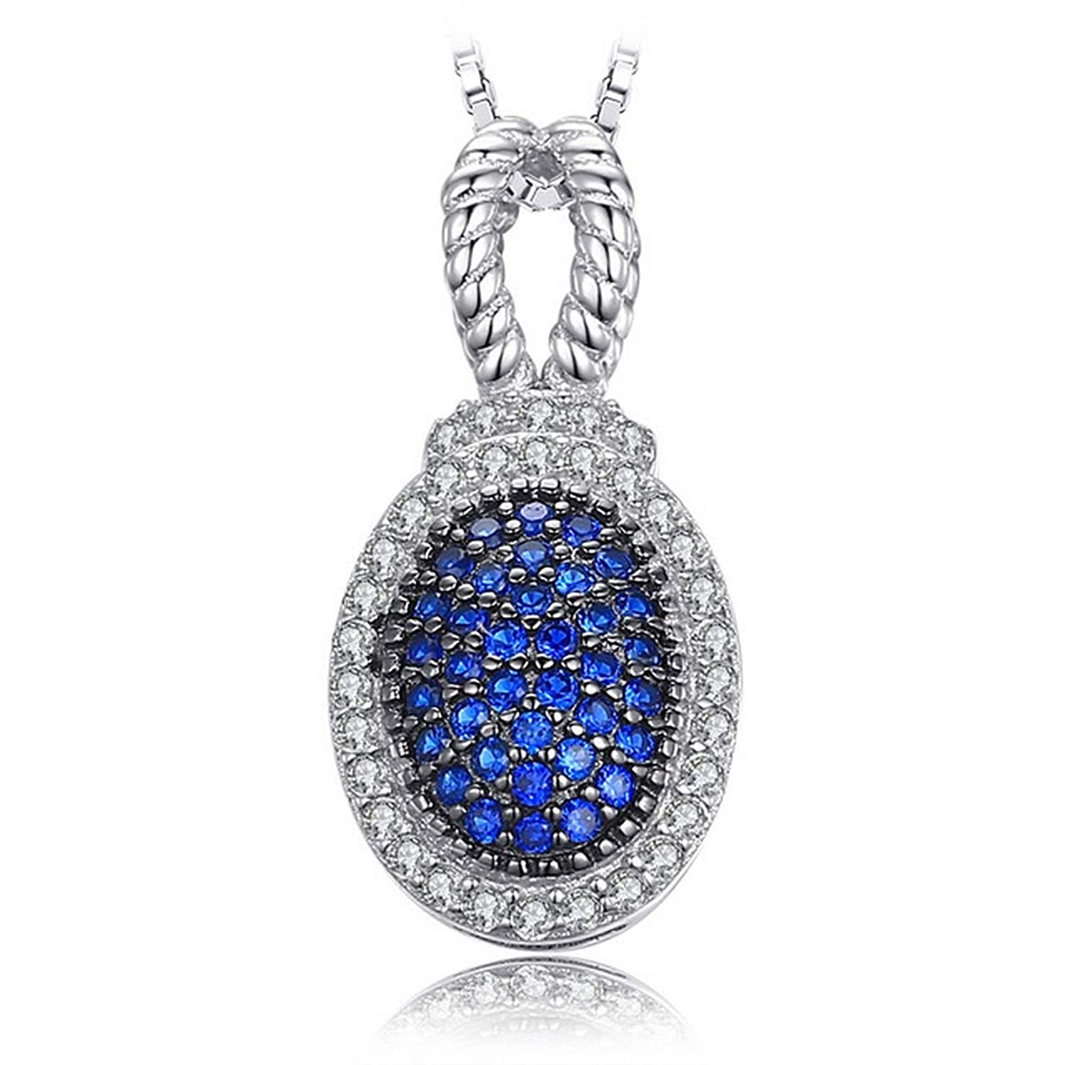Womens Necklaces by CS-DB Vintage 0.32 ct Bridal Blue Spinel Pave Girls Silver Pendants