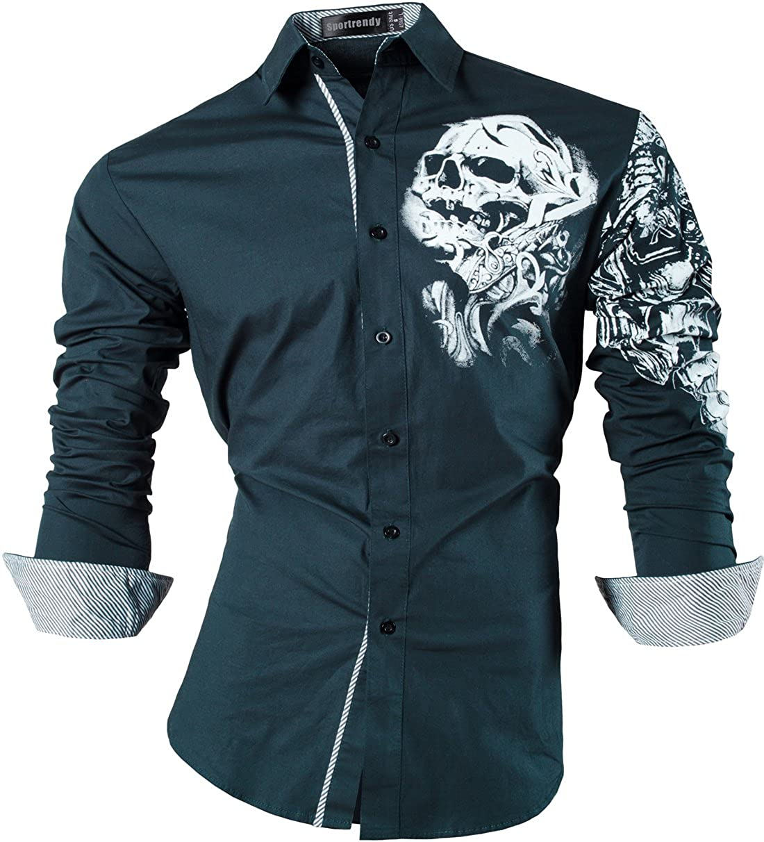 Sportrendy Men's Slim Fit Long Sleeve Casual Button Down Shirts Dragon Tattoo JZS041