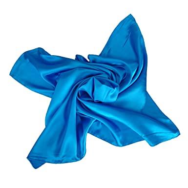 388b59fbd7f1 Heyjewels Mode Femme OL Echarpe Foulard carré de profession en satin  couleur pure azur