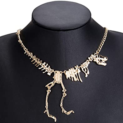 Amazon.com: Clockwork Baby Dinosaur Vintage Necklace Short Collar Fashion Costume Jewelry Statement Necklace for Women Teens (Gold): Jewelry