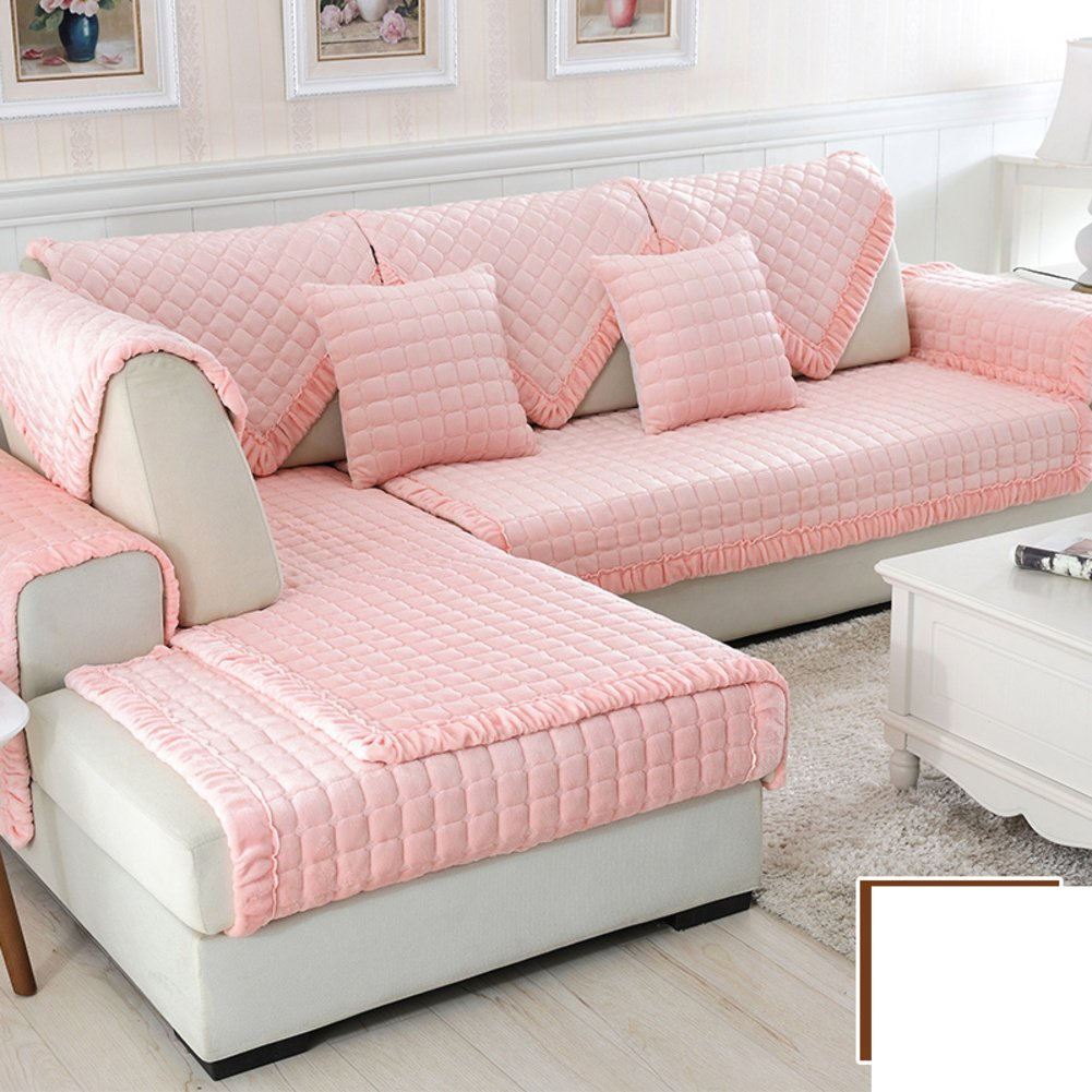 DW&HX winter Thicken Flannel plush Sofa cushions, Cover Anti-skidding Fabric Sofa cover Cushion-J 70x210cm(28x83inch)
