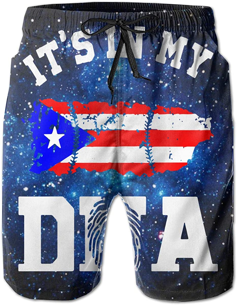 Puerto Rico Its in My DNA Mens Board//Beach Shorts Slim-Fit Swimming Shorts