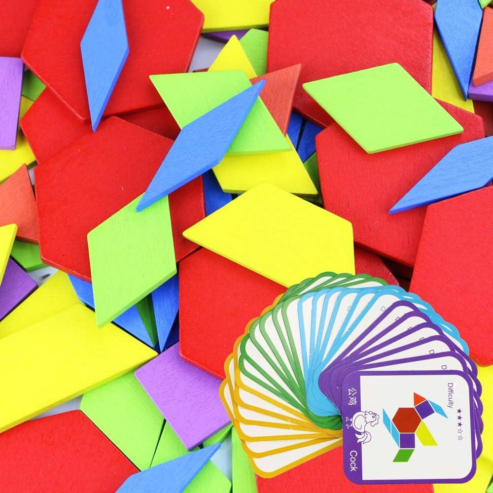 Acmer 155 Pcs Wooden Pattern Blocks Geometric Shapes Puzzles,Wooden Pattern Blocks Creativity Sequencing Toys for Kids