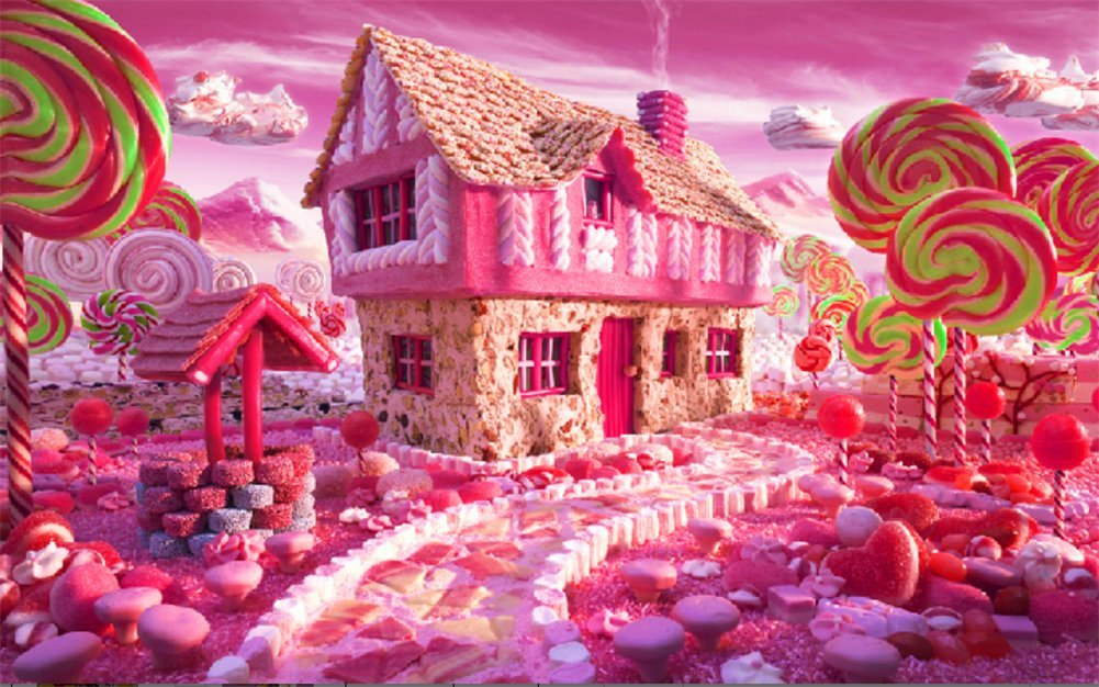 YEESAM ART New 5D Diamond Painting Kit - Pink Candy House - DIY Crystals Diamond Rhinestone Painting Pasted Paint by Num