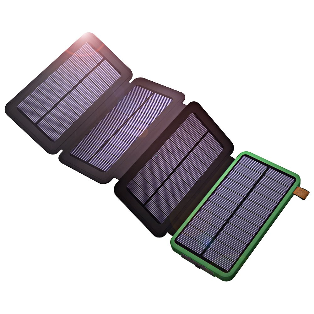 Solar Power Bank, X-DRAGON Solar Charger with Foldable Panel 10000mAh Portable Rugged Shockproof Dual USB Solar Battery Charger for iPhone, Samsung Galaxy ipad and More-Green