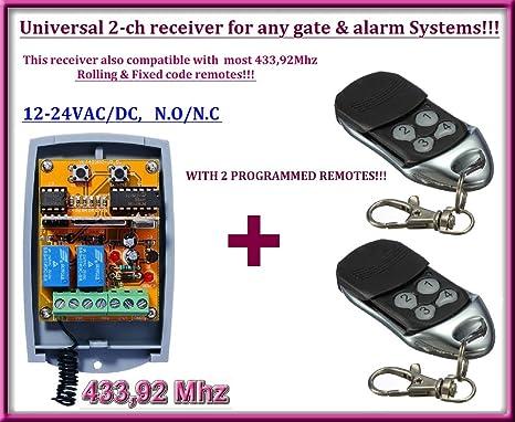 /24/VAC//DC receptor de 2/canales /N//C 12/ N//O/ Universal Rolling//c/ódigos fijos 433,92/MHz