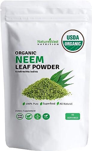 Naturesvast Neem Leaf Powder-USDA Organic 100 Pure Azadirachta Indica 4.4oz.