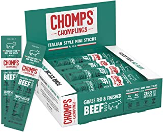 product image for CHOMPS MINI Grass Fed Beef Jerky Meat Snack Sticks, Keto, Paleo, Whole30 Approved, Low Carb, High Protein, Gluten Free, Sugar Free, Non-GMO, Nitrate Free, 40 Calories 0.5 Oz Sticks, Italian Style Beef