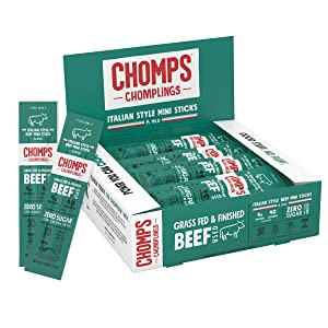 CHOMPS MINI Grass Fed Beef Jerky Meat Snack Sticks, Keto, Paleo, Whole30 Approved, Low Carb, High Protein, Gluten Free, Sugar Free, Non-GMO, Nitrate Free, 40 Calories 0.5 Oz Sticks, Italian Style Beef