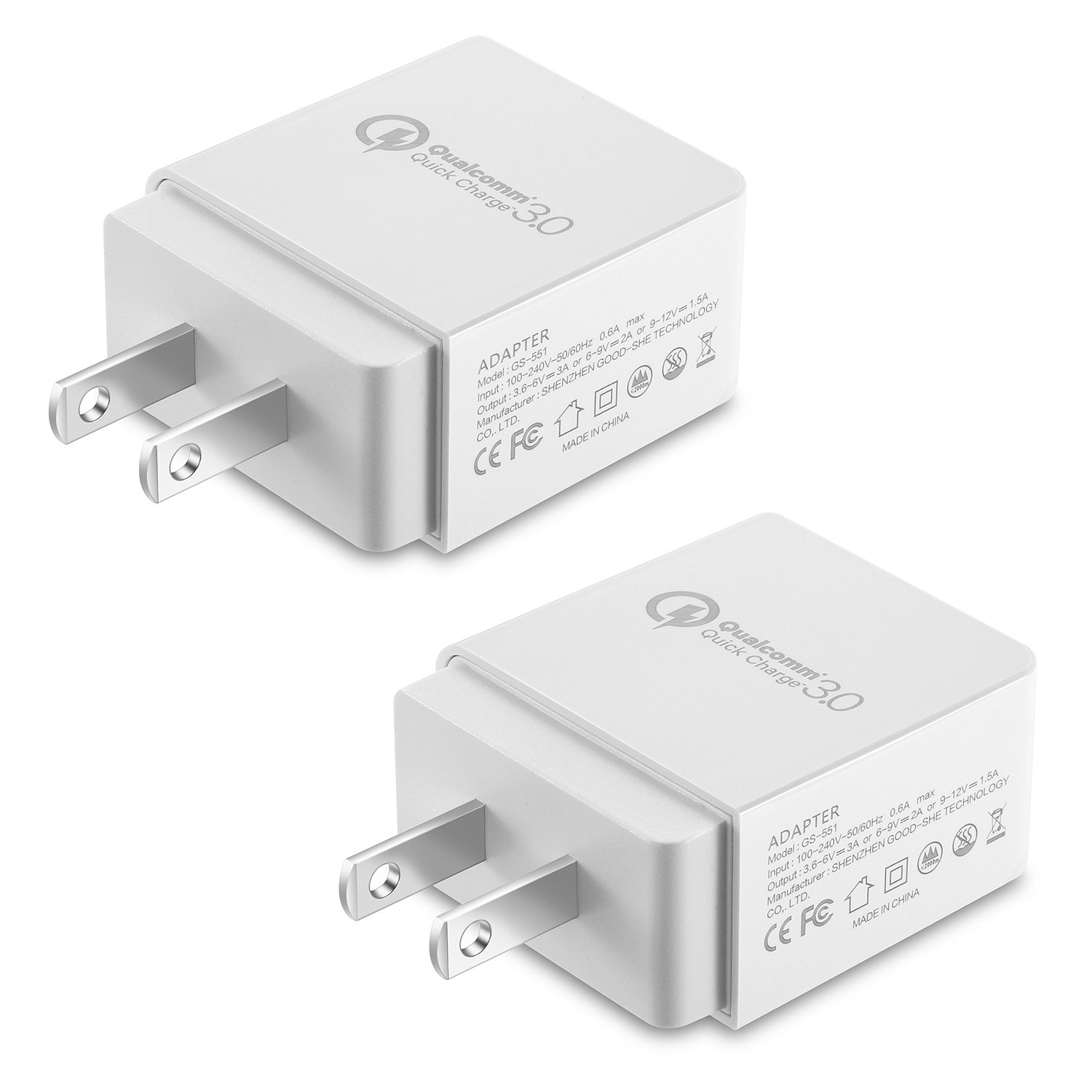 NEXGADGET Quick Charge 3.0 18W Wall Charger,Adaptive Fast Charger,Universal Portable USB Charger Plug Cube Compatible for iPhone X/8/7,iPad, Samsung, Android Phone and More, 2 Pack-White
