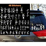 TOTOMO 48 Stick Figure My Family Car Stickers with Pet Dog Cat Fish Rabbit Bird Family Car Decal Sticker for Windows Bumper