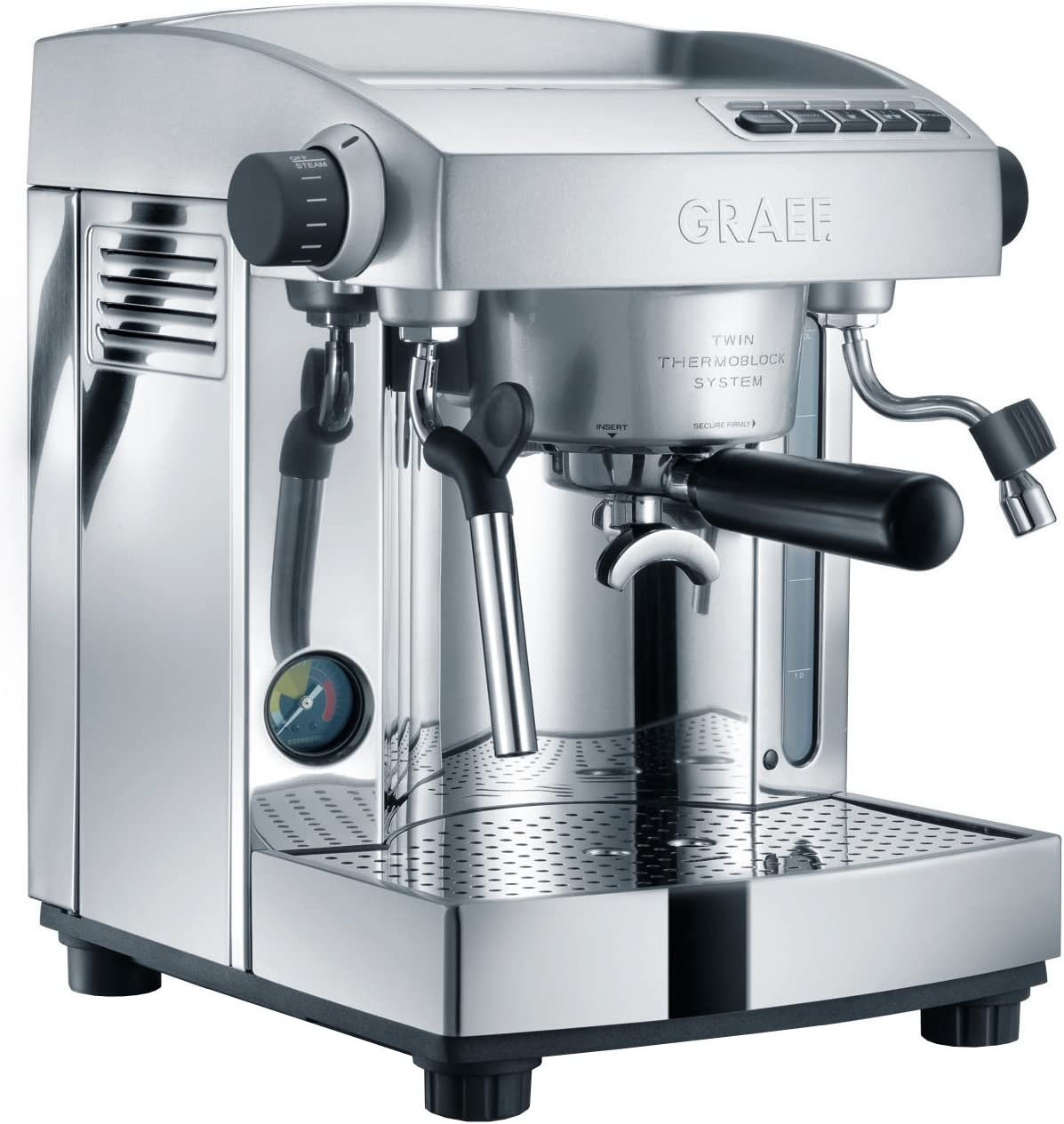 Graef ES 95 Independiente Manual Máquina espresso 3L 2tazas Acero inoxidable - Cafetera (Independiente, Máquina espresso, 3 L, De café molido, 2200 W, Acero inoxidable): Amazon.es: Hogar
