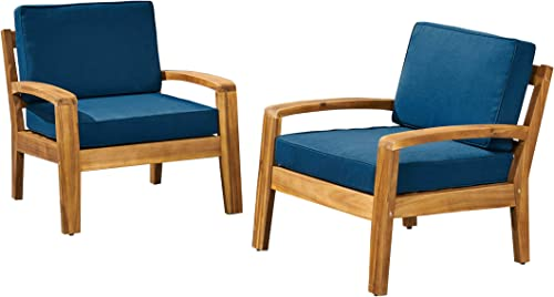 Sally Outdoor Acacia Wood Club Chairs with Cushions Set of 2 , Teak and Dark Teal