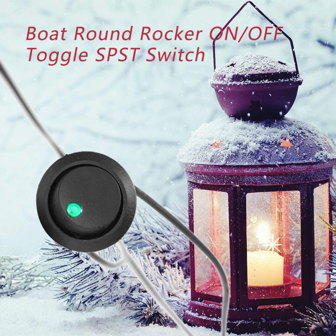 Led Dot Light 12V Car Auto Boat Round Rocker ON//Off Toggle SPST Switch Truck with a Keyhole Slot to Prevent Unwanted Rotation Color:Black