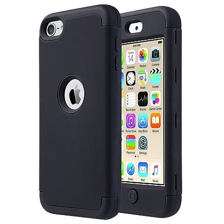 ULAK iPod Touch 5 Hülle, iPod Touch 6 Hülle 3 Layer Hybrid Combo Innere Weiche Silikon Hart Plastik Anti-stoß Schutzhülle Tas