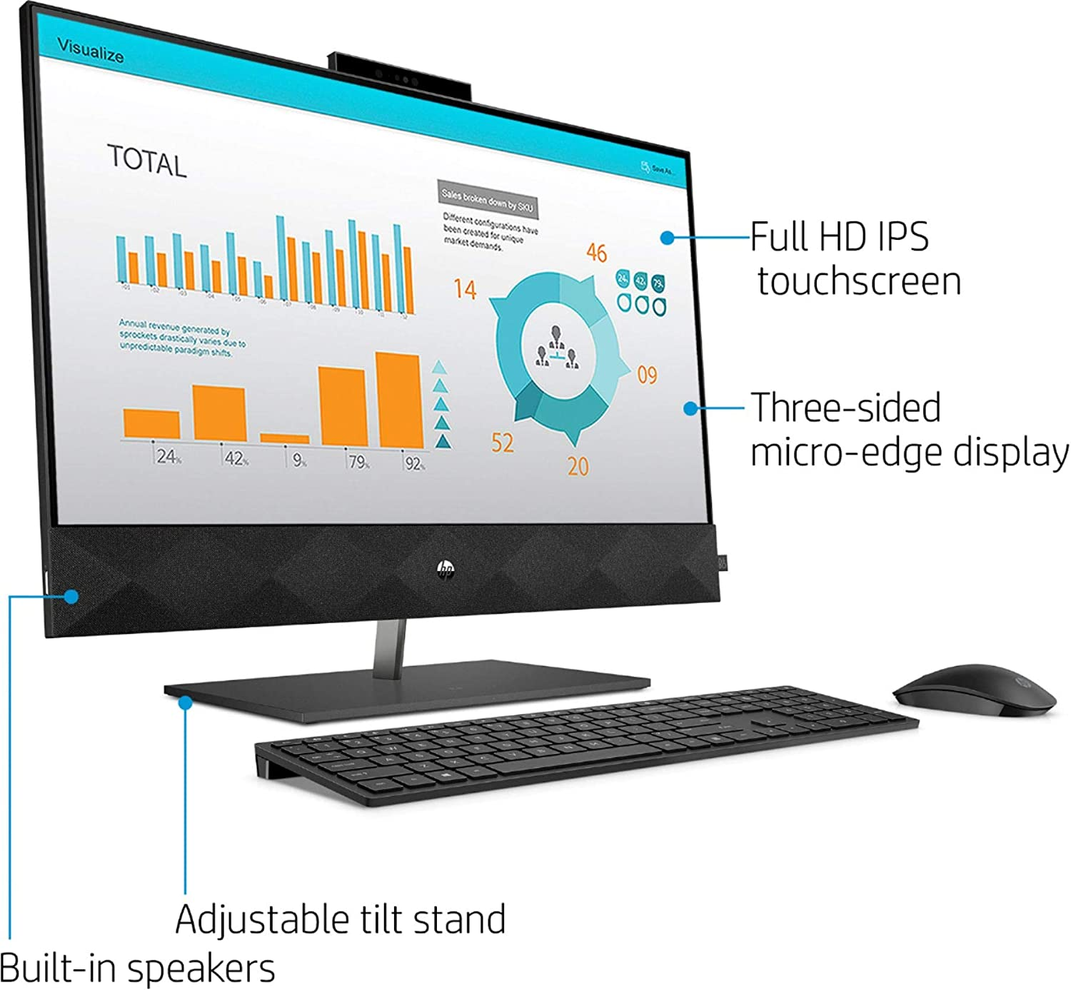 HP Pavilion 27 Touch Desktop 8TB SSD 64GB RAM Extreme PC Computer All-in-One Black Intel Core i9-10900 Processor w Turbo Boost to 5.20GHz, 64 GB RAM, 8 TB SSD, 27-inch FHD Touchscreen, Win 10