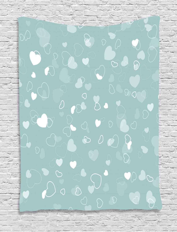 ABAKUHAUS Espuma De Mar Tapiz de Pared, Corazones Romántica Temática, para el Dormitorio Apto Lavadora y Secadora Estampado Digital, 100 x 150 cm, Espuma De Mar Azul De Bebé