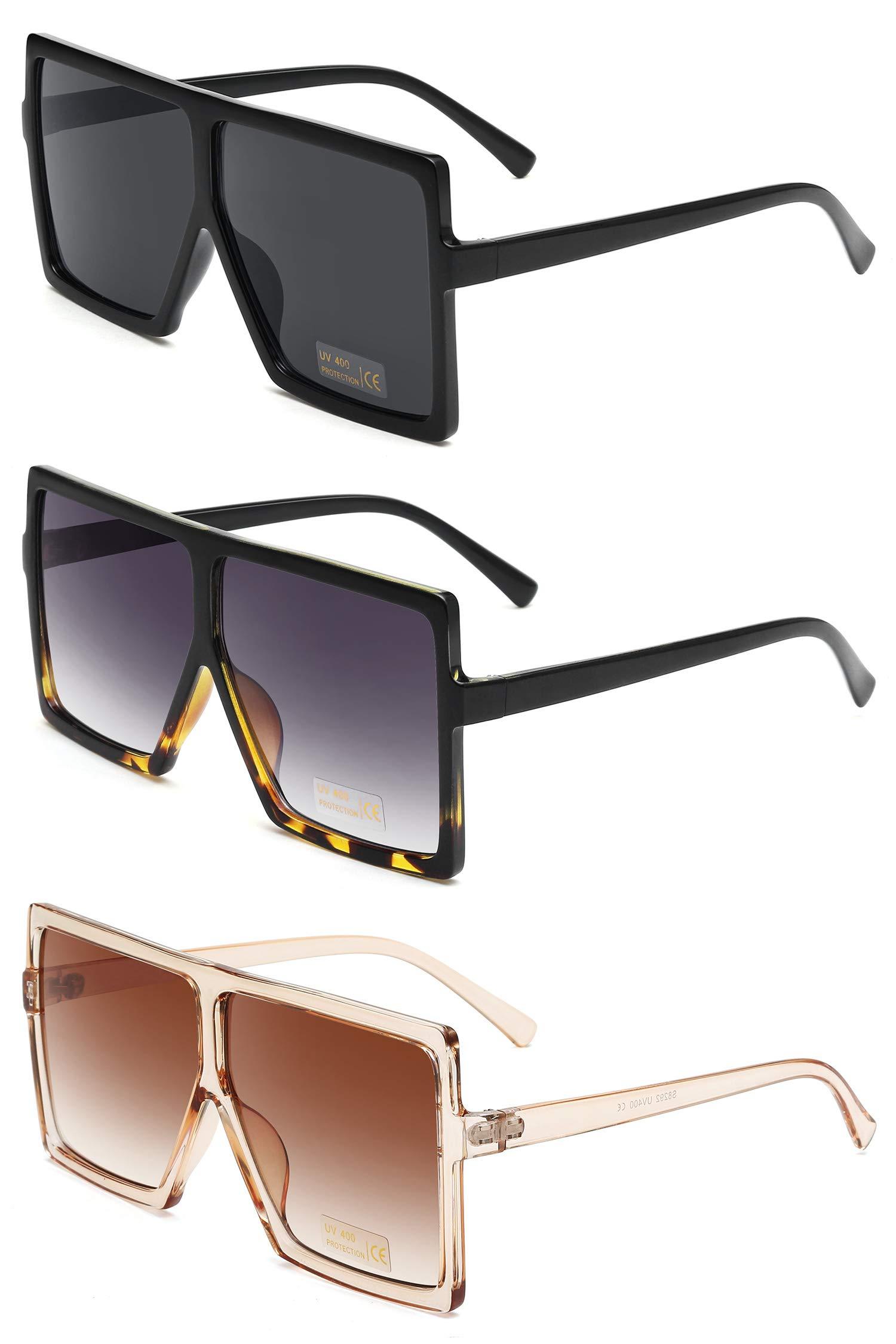 GRFISIA Square Oversized Sunglasses for Women Men Flat Top Fashion Shades (3PCS-Black- leopard-orange, 2.56)